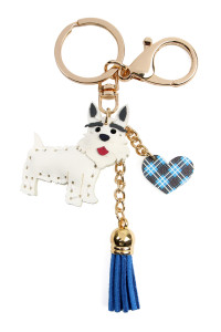 S7-4-4-AMYK1001WH WHITE TERRIER LEATHER CHARM KEYCHAIN/6PCS