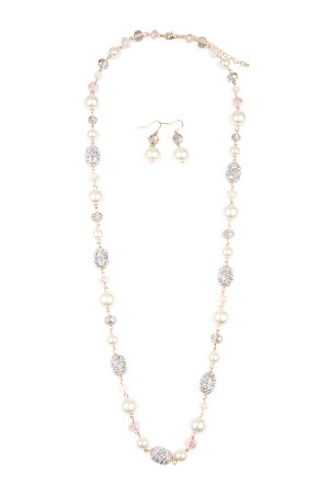 S7-6-3-AMYN1000GDCR GOLD BAROQUE PEARL LONG NECKLACE & EARRING SET/6SETS
