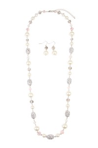 S7-6-3-AMYN1000SLCR SILVER BAROQUE PEARL LONG NECKLACE & EARRING SET/6SETS