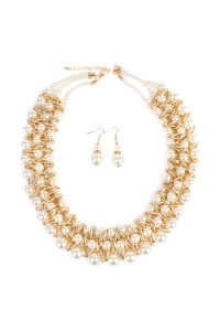 S7-6-2-MYN1006GD THREE LAYER PEARL TWIST GOLDTONE NECKLACE AND EARRING SET/6PCS