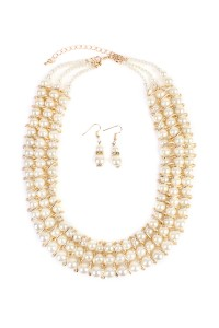 S7-6-2-AMYN1007GD THREE LAYER PEARL GOLDTONE NECKLACE AND EARRING SET/6PCS