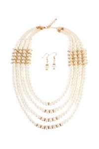 S6-5-4-AMYN1008GD FOUR LAYER PEARL GOLDTONE NECKLACE AND EARRING SET/6PCS