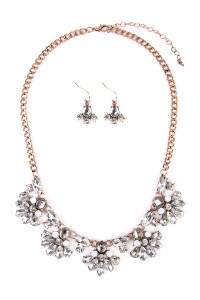 S6-4-3-AMYN1010 ZIRCONIA BEADS STATEMENT NECKLACE AND EARRING SET/6SETS