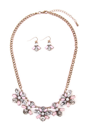 S4-6-2-AMYN1011 ACRYLIC FLOWER STATEMENT NECKLACE AND EARRING SET/6SETS