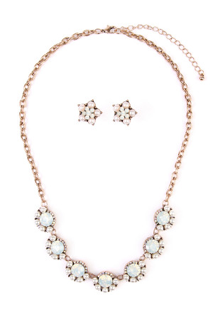 S7-4-4-AMYN1015 PEARL ACRYLIC STATEMENT NECKLACE AND EARRING SET/6SETS