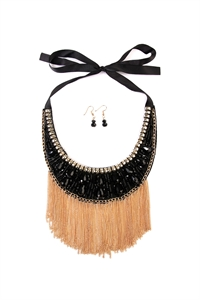 S5-6-2-AMYN1018GDBK GOLD BLACK CHAIN TASSEL BIB NECKLACE AND EARRING SET/6SETS