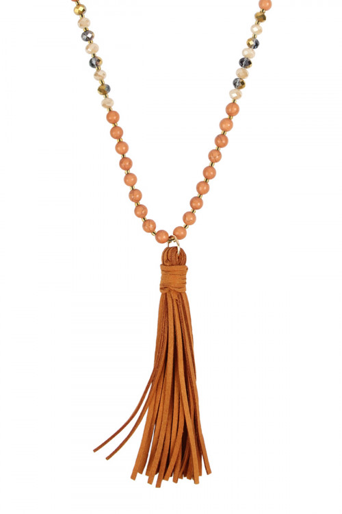 A2-2-1-AMYN1066LBR LIGHT BROWN BEADED NECKLACE WITH LEATHER TASSEL/6PCS