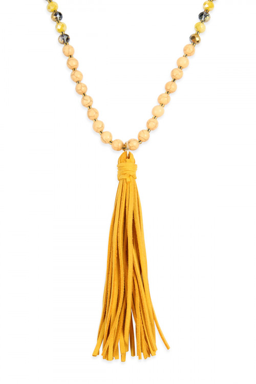 A1-3-1-AMYN1066MU MUSTARD BEADED NECKLACE WITH LEATHER TASSEL/6PCS