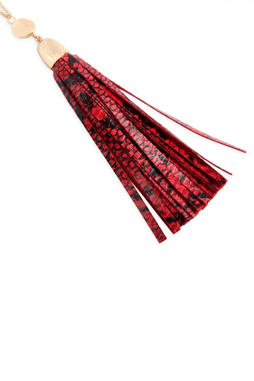 A1-1-1-AMYN1079RD RED SNAKE SKIN PRINTED LEATHER TASSEL NECKLACE/6PCS