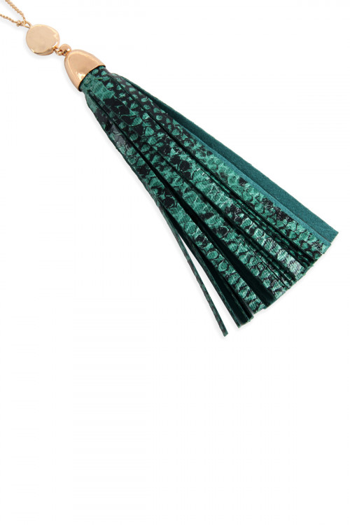 A1-1-1-AMYN1079TQ TURQUOISE SNAKE SKIN PRINTED LEATHER TASSEL NECKLACE/6PCS