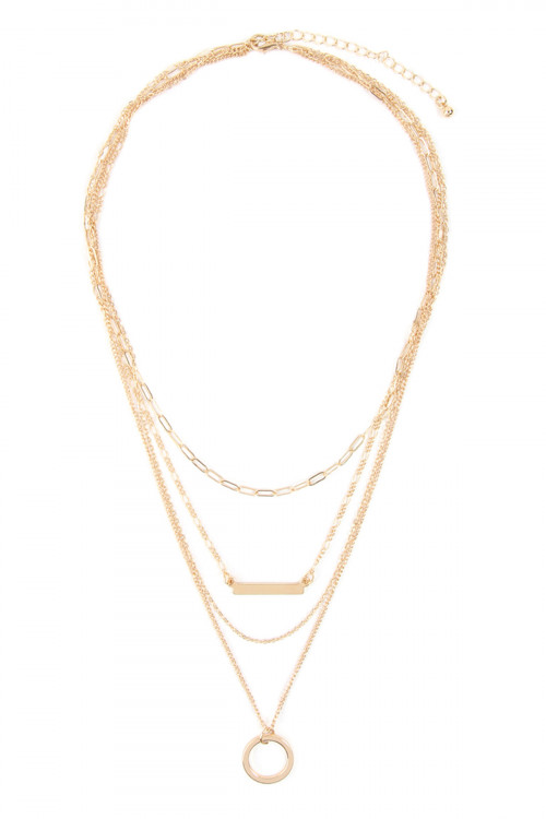 A2-3-4-AMYN1101GD GOLD LAYERED NECKLACE/6PCS