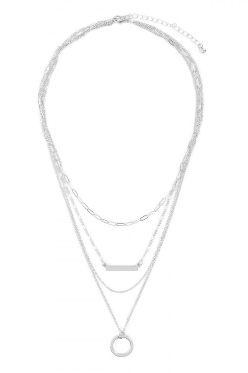 A2-3-4-AMYN1101RH RHODIUM LAYERED NECKLACE/6PCS