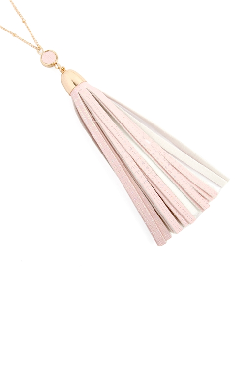 S25-8-4-MYN1106HPK PINK LEATHER TASSEL PENDANT NECKLACE/6PCS