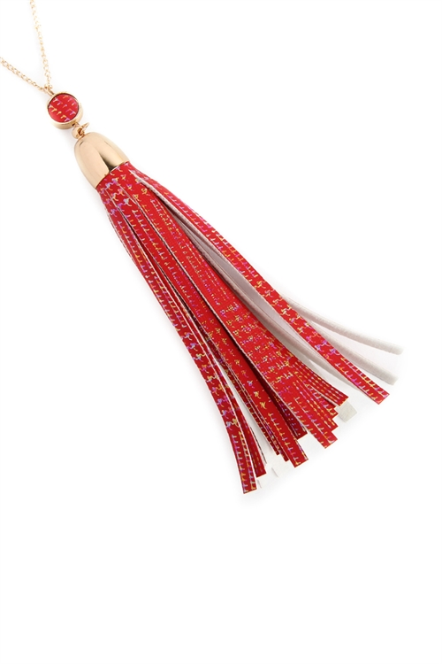 A2-1-3-MYN1106RD RED LEATHER TASSEL PENDANT NECKLACE/6PCS