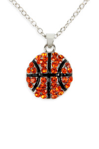SA3-2-1-AMYN1117BSK BASKETBALLBALL RHINESTONE PENDANT NECKLACE/6PCS