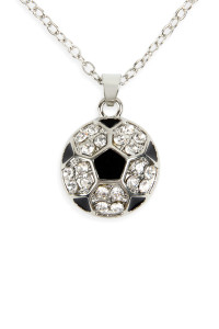 S6-5-3-AMYN1117SOC SOCCER BALL RHINESTONE PENDANT NECKLACE/6PCS