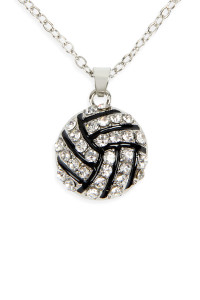 S6-4-4-AMYN1117VOL VOLLEYBALL RHINESTONE PENDANT NECKLACE/6PCS