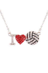 SA4-2-1-AMYN1118 I LOVE VOLLEYBALL RHINESTONE CHAIN NECKLACE /6PCS