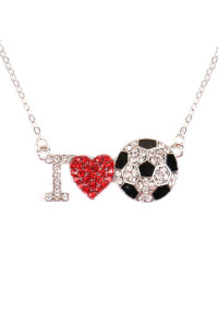 SA3-1-1-AMYN1119 I LOVE SOCCER RHINESTONE CHAIN NECKLACE /6PCS