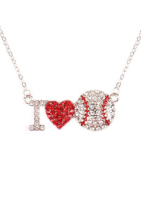 S4-6-1-AMYN1120 I LOVE BASEBALL RHINESTONE CHAIN NECKLACE /6PCS