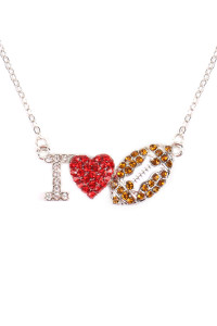 S6-6-1-AMYN1121 I LOVE FOOTBALL RHINESTONE CHAIN NECKLACE /6PCS