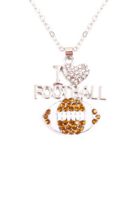 S4-4-1-AMYN1122 I LOVE FOOTBALL RHINESTONE PENDANT NECKLACE /6PCS