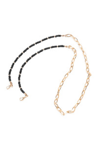 SA4-3-5-AMYN1203GBK GOLD BLACK MASK HOLDER BEADED CHAIN NECKLACE/6PCS