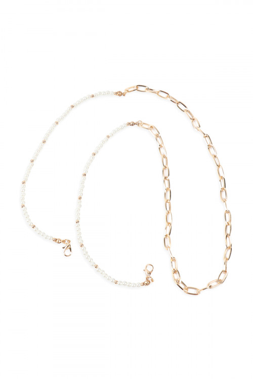 SA4-3-5-AMYN1203GCR GOLD CREAM MASK HOLDER BEADED CHAIN NECKLACE/6PCS