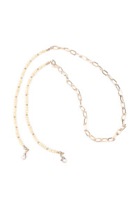 A2-2-5-AMYN1203GIV GOLD IVORY MASK HOLDER BEADED CHAIN NECKLACE/6PCS