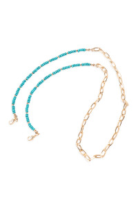 A2-2-5-AMYN1203GTQ GOLD TURQUOISE MASK HOLDER BEADED CHAIN NECKLACE/6PCS