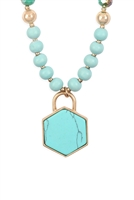 S18-3-4/S23-10-4-MYN1301TQ-HEXAGON PENDANT BEADED NECKLACE-TURQUOISE/6PCS