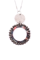 S27-7-4-MYN1327RDBK-GLASS BEADED HOOP PENDANT NECKLACE-SILVER BLACK/6PCS