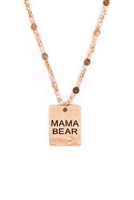 "S27-8-5-MYN1371MGLCT-HAMMER SQUARE ""MAMA BEAR"" PENDANT NECKLACE-MATTE GOLD BROWN/6PCS"