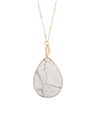 S18-2-4-MYN1393WT- WHITE TEARDROP NATURAL STONE PENDANT NECKLACE/6PCS