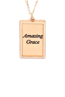 S29-2-4-MYN1421MGAMZ-AMAZING GRACE ETCHED BRASS BOX PENDANT NECKLACE-MATTE GOLD/6PCS