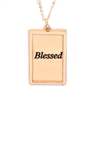 S29-2-4-MYN1421MGBLE-BLESSED ETCHED BRASS BOX PENDANT NECKLACE-MATTE GOLD/6PCS