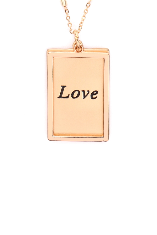 S29-2-1-MYN1421MGLV-LOVE ETCHED BRASS BOX PENDANT NECKLACE-MATTE GOLD/6PCS