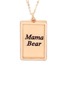 S29-1-4-MYN1421MGMA-MAMA ETCHED BRASS BOX PENDANT NECKLACE-MATTE GOLD/6PCS