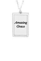 S29-1-4-MYN1421MSAMZ-AMAZING GRACE ETCHED BRASS BOX PENDANT NECKLACE-MATTE SILVER/6PCS