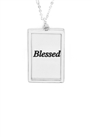 S29-2-4-MYN1421MSBLE-BLESSED ETCHED BRASS BOX PENDANT NECKLACE-MATTE SILVER /6PCS