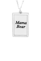 S29-1-4-MYN1421MSMA-MAMA ETCHED BRASS BOX PENDANT NECKLACE-MATTE SILVER/6PCS