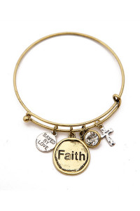 SA4-3-3-A82440CR-G FAITH CHARM BANGLE BRACELET/6PCS