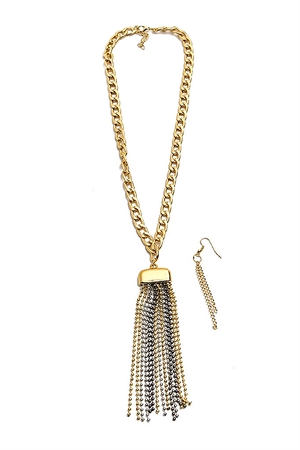 S4-4-3-AN999194 GOLD CHAIN GOLD/TRITONE TASSEL NECKLACE & EARRING SET/12SETS
