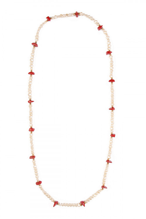 A3-3-3-AN1070WTRD WHITE RED NECKLACE/12PCS