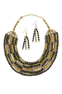 S1-3-1-LBN2001JT JET BLACK & GOLD BEADED NECKLACE WITH EARRINGS SET/3SETS
