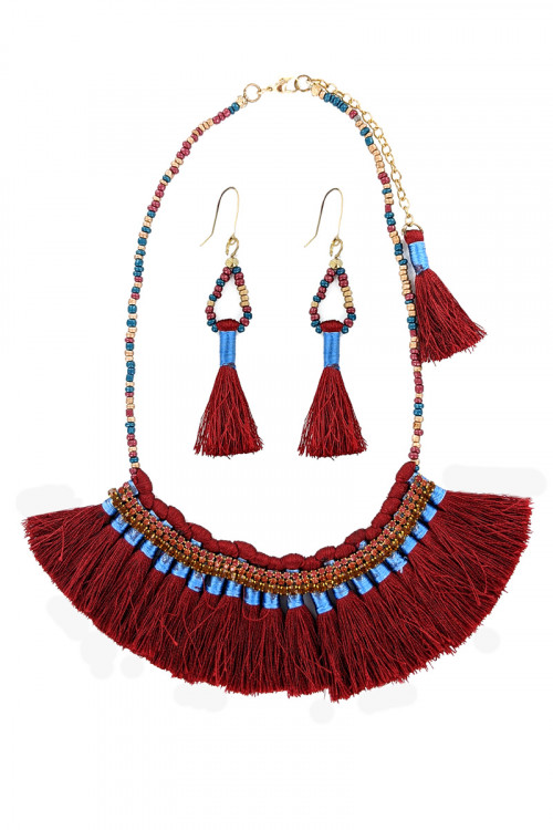 S1-5-2-LBN2008RD RED MULTI TASSEL, BEADED NECKLACE WITH MATCHING EARRINGS SET/3SETS