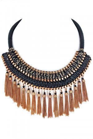 S1-3-4-LBN2501JT JET BLACK ETHNIC FASHION NECKLACE WITH MATCHING METAL TASSEL EARRINGS SET/3SETS