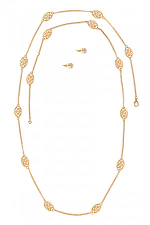 S1-4-2-LBN2511GD GOLD FASHION NECKLACE & STUD EARRINGS SET/3SETS