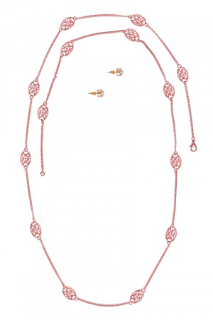 S1-6-3-LBN2511RG ROSE GOLD FAHION NECKLACE & STUD EARRINGS SET/3SETS