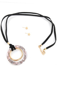 S1-1-2-LBN3507GR HOOP RESIN NECKLACE & EARRING SET/3SETS